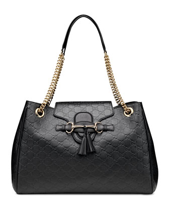 Emily Large Guccissima Leather Shoulder Bag, Black