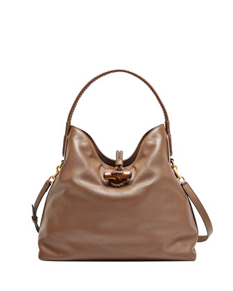 Hip Bamboo Leather Shoulder Bag, Acero Mushroom