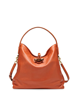 Hip Bamboo Leather Shoulder Bag, Rust Burnt Orange