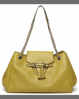 Emily Leather Shoulder Bag, Mystic White
