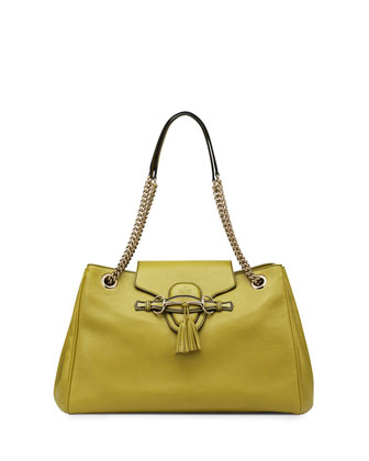 Emily Large Leather Shoulder Bag, Chartreuse Green
