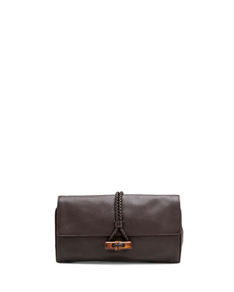 Hip Bamboo Leather Clutch Bag, Dark Cocoa