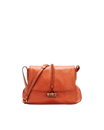 Hip Bamboo Leather Flap Shoulder Bag, Burnt Orange