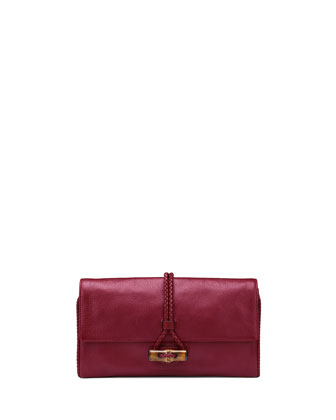 Hip Bamboo Leather Clutch Bag, Raspberry Dark Red