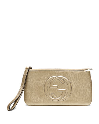 Soho Metallic Leather Wristlet, Gold