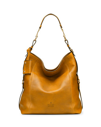 Large North-South Leather Hobo Bag with Side Detail, Mustard Yellow