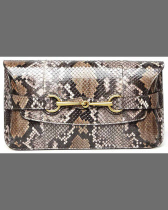 Bright Bit Python Clutch Bag, Acero Pale Pink