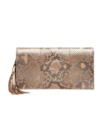 Soho Python Clutch Bag, Pearl Golden Pink