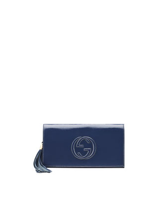 Soho Patent Leather Clutch Bag, Uniform Blue Navy