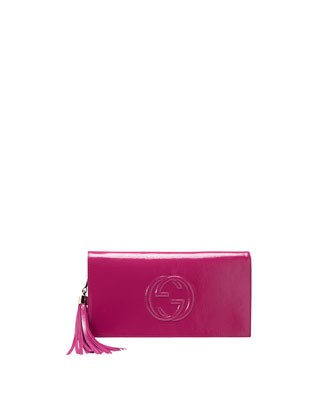 Soho Patent Leather Clutch Bag, Bright Fuchsia