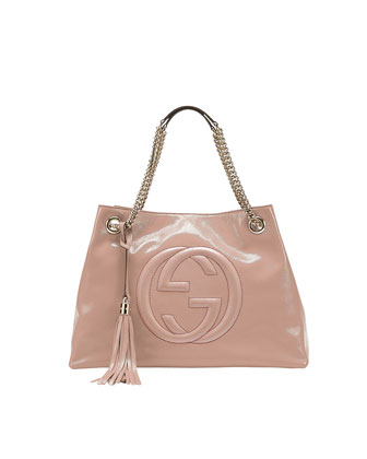 Soho Patent Leather Medium Chain-Strap Tote Bag, Pale Pink