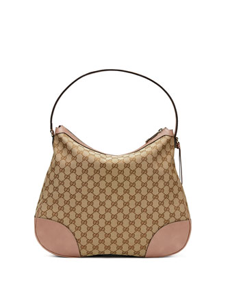 Bree Original GG Canvas Hobo Bag, Beige/Dark Cipria
