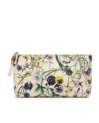 Large Flora Zip-Top Cosmetic Bag