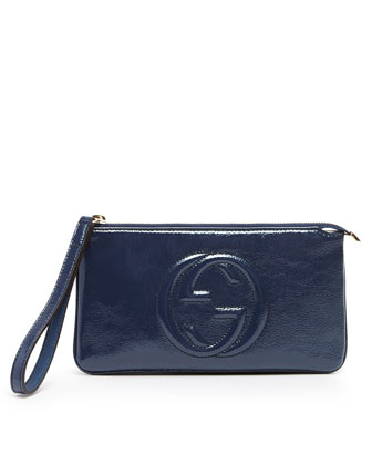 Soho Patent Leather Wristlet, Uniform Blue