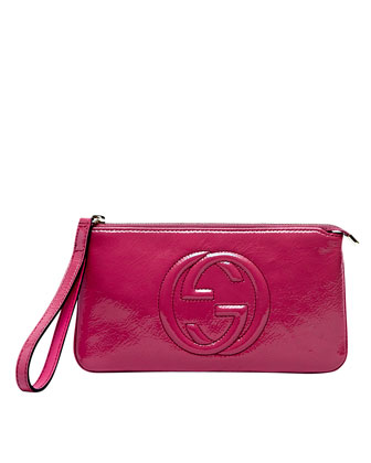 Soho Patent Leather Wristlet, Bright Bougainvillea