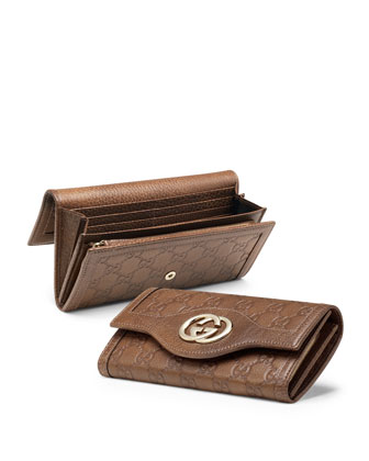 Guccissima Continental Flap Wallet, Medium Brown