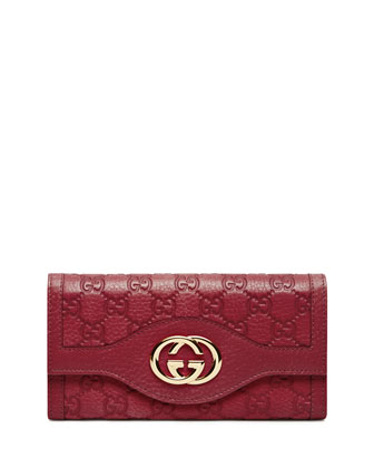 Guccissima Continental Flap Wallet, Raspberry Red