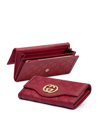 Guccissima Continental Flap Wallet, Dark Cipria