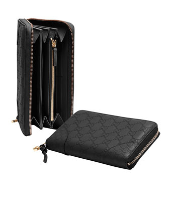 Bree Guccissima Zip Around Wallet, Black