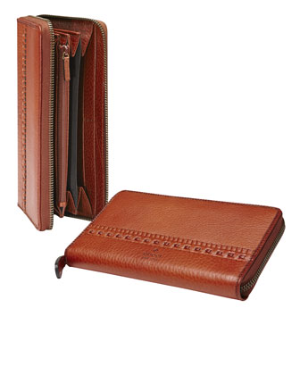 Continental Leather Zip Around Wallet, Cognac