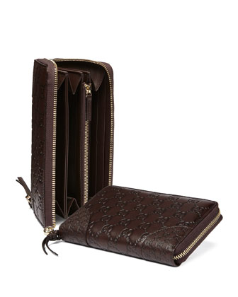 Guccissima Zip Around Wallet, Chocolate