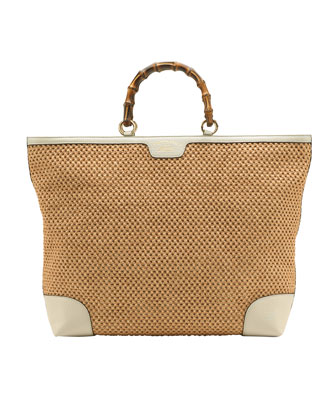 Bamboo Large Shopper Straw Tote Bag, Natural/White