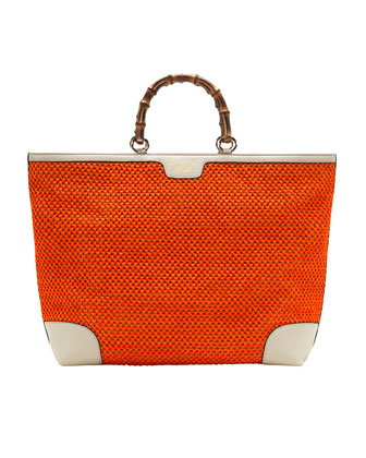 Bamboo Large Shopper Straw Tote Bag, Orange/White