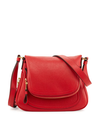 Jennifer Small Calfskin Crossbody Bag, Dark Orange