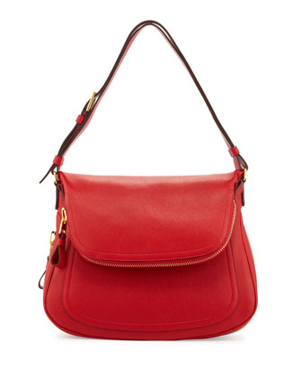 Jennifer Medium Leather Shoulder Bag, Dark Orange