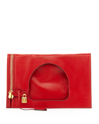 Alix Small Padlock & Zip Flat Bag, Dark Orange