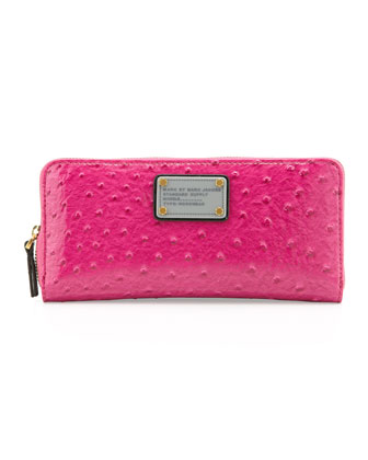 Classic Q Ostrich-Embossed Slim Zip Wallet, Pop Pink