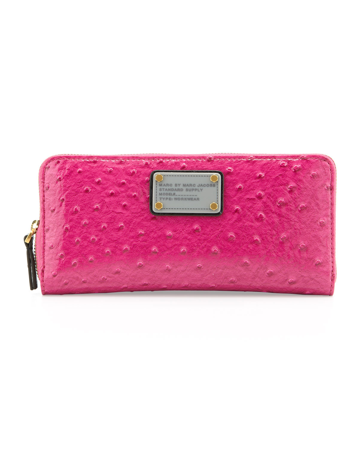 Classic Q Ostrich Embossed Slim Zip Wallet, Pop Pink   MARC by Marc Jacobs