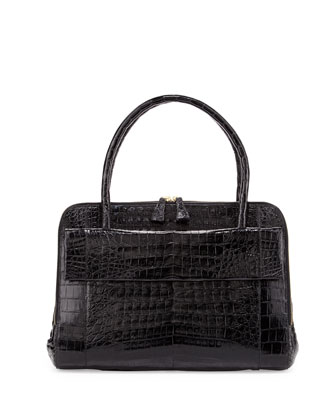 Large Crocodile Flap Work Satchel Bag, Black