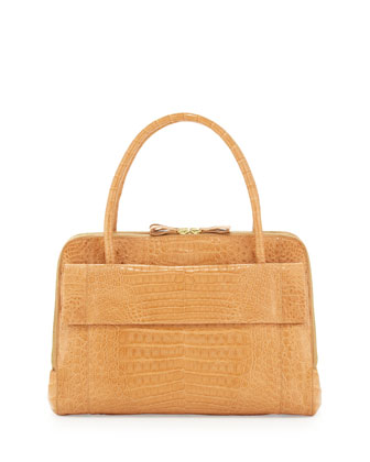 Crocodile Large Zip Work Satchel Bag, Beige