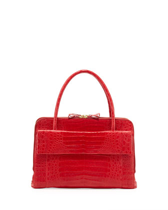 Crocodile Large Zip Work Satchel Bag, Red