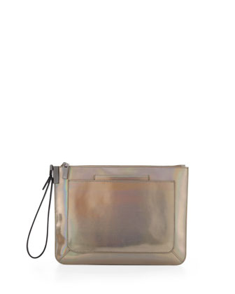 Ishi Large Metallic Leather Wristlet, Laser Gunmetal
