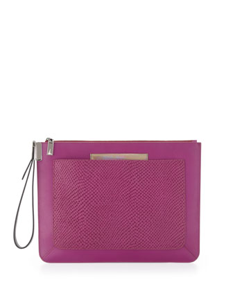Ishi Large Snake-Embossed Wristlet Pouch, Magenta