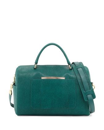 Julian Serpent-Print Duffle Bag, Emerald