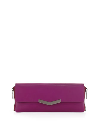 Meridian Zip-Side Flap Clutch Bag, Magenta