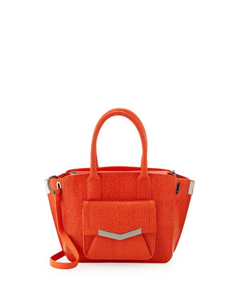 Mini Jo Serpent-Print Tote Bag, Coral