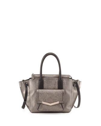 Mini Jo Metallic Tote Bag, Mica/Gunmetal
