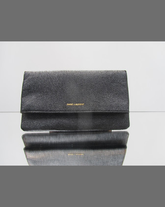 Letters Large Fold-Over Clutch Bag, Chalk