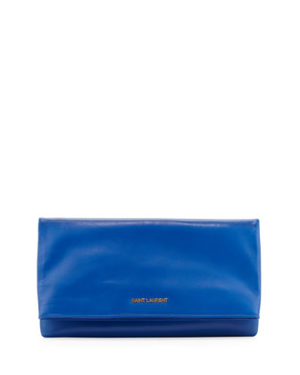 Letters Large Fold-Over Clutch Bag, Bleu Major