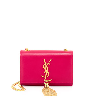 Cassandre Small Tassel Crossbody Bag, Pink