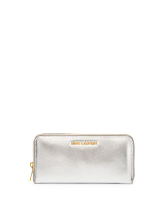 Logo-Letter Zip-Around Continental Wallet, Platine