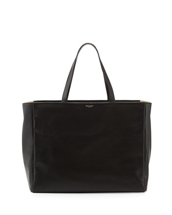 Reversible East-West Shopper Tote Bag, Black/Natural