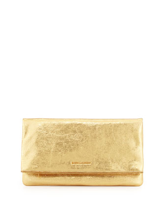 Logo Letters Large Fold-Over Clutch Bag, Gold