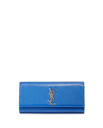 Cassandre Logo Clutch Bag, Bleu Major