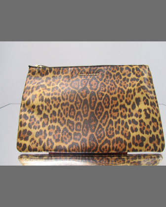 Letters Medium Zip Clutch Bag, Leopard