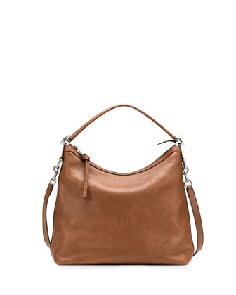 Miss GG Leather Hobo Bag, Camel